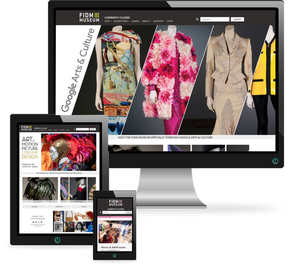 A composite of screens from the FIDM Museum website top illustrate how it looks on desktop, laptop and mobile devices.,